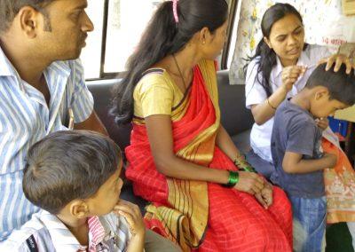 Dr. Sonawane treating a injured child